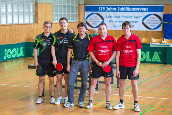 Jubiläums-Tischtennisschaukampf bei der TSG Eintracht Plankstadt mit Robin Maier, Alexander Krieger, Thomas Heeß und Maximilian Stein