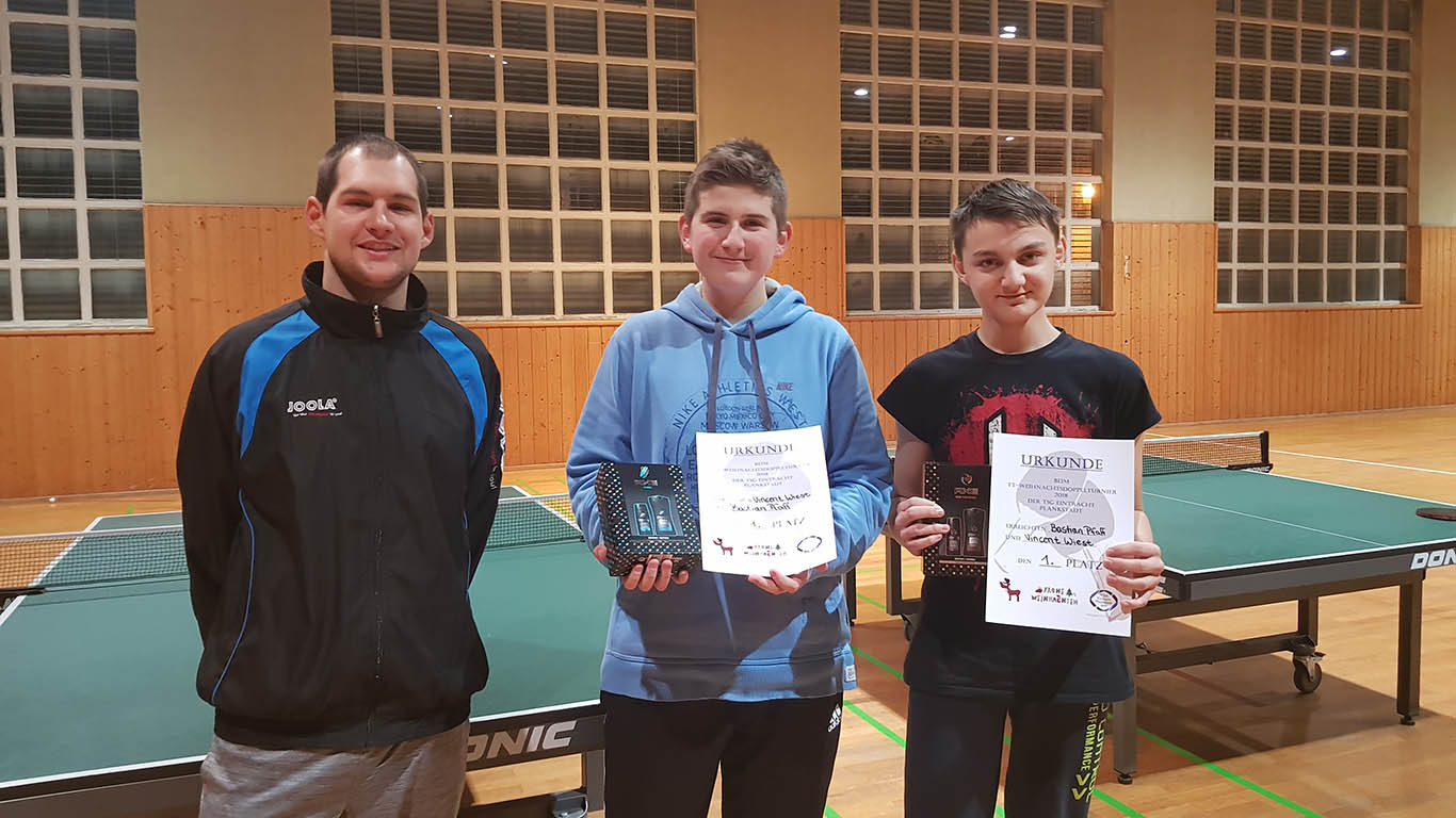 Pascal Dilger mit den Siegern Vincent Wiest und Bastian Pfaff