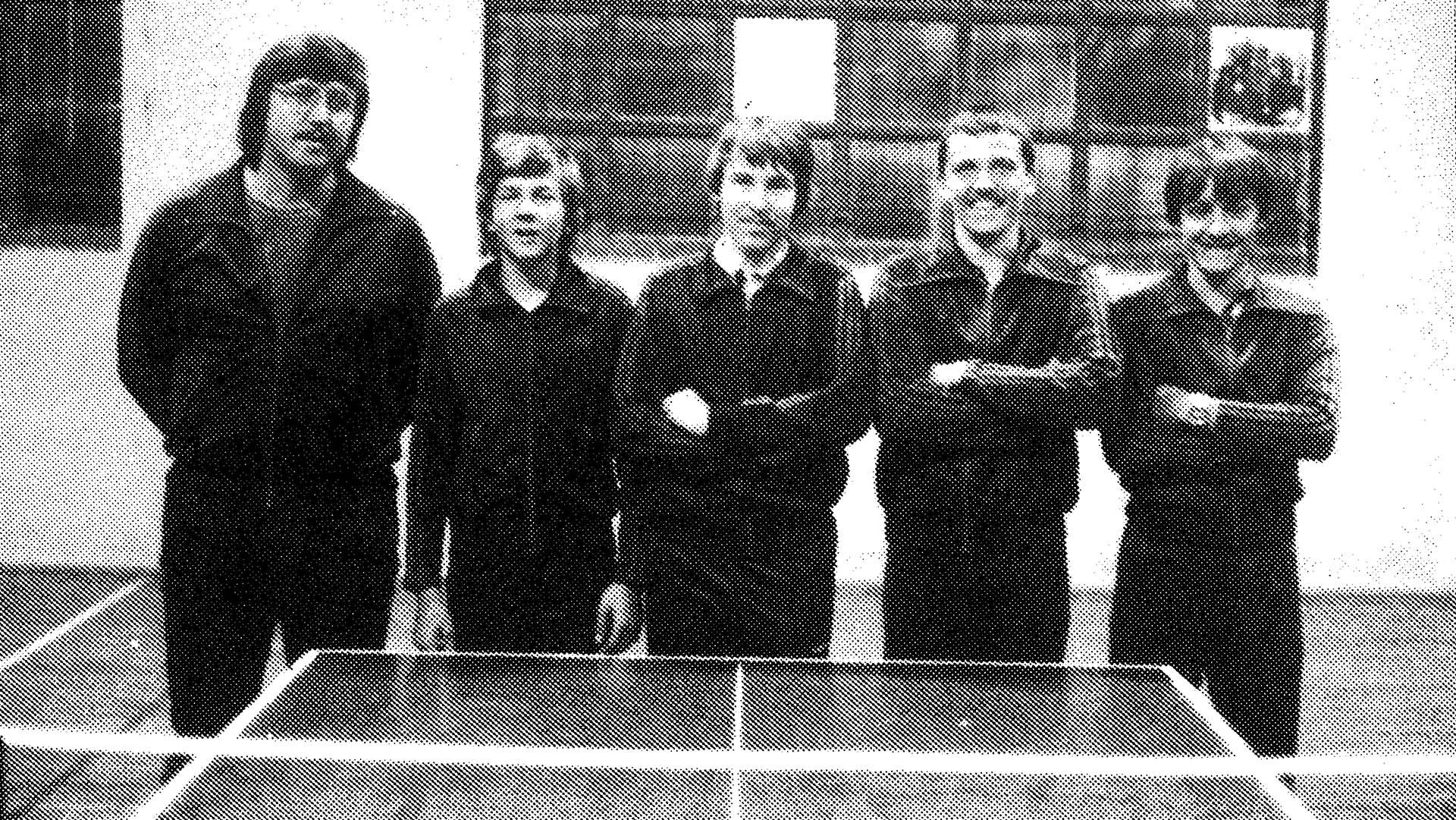 Die Meistermannschaft der Gruppenliga-Jugend 1981/82, v. I. Jugendtrainer Wilfried Nieswandt, Michael Lorenz, Heiko Treiber, Rainer Wagner und Michael Weick.